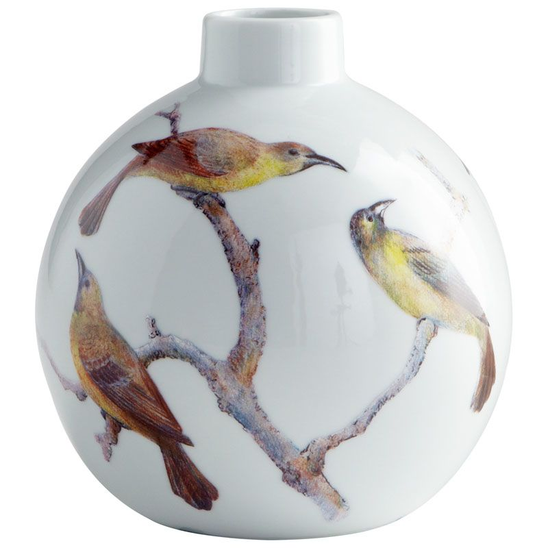 Cyan Design Small Aviary Vase Aviary 7 Inch Tall Ceramic Vase White