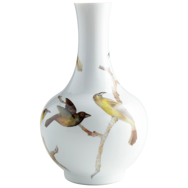 Cyan Design Large Aviary Vase Aviary 17 Inch Tall Ceramic Vase White