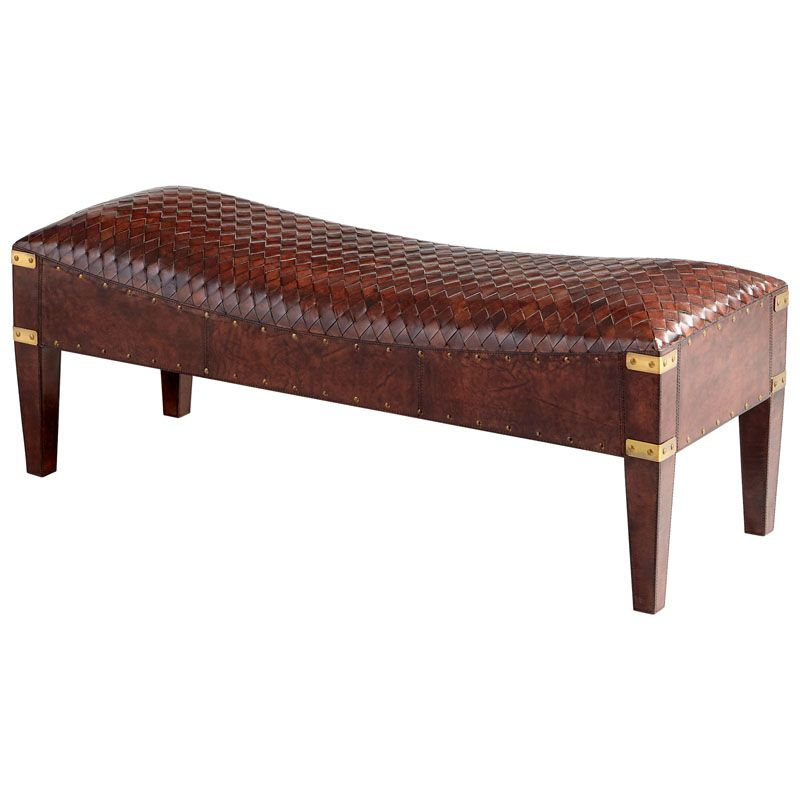 Cyan Design Mechi Bench Mechi 18.25 Inch Tall Wood and Leather Bench