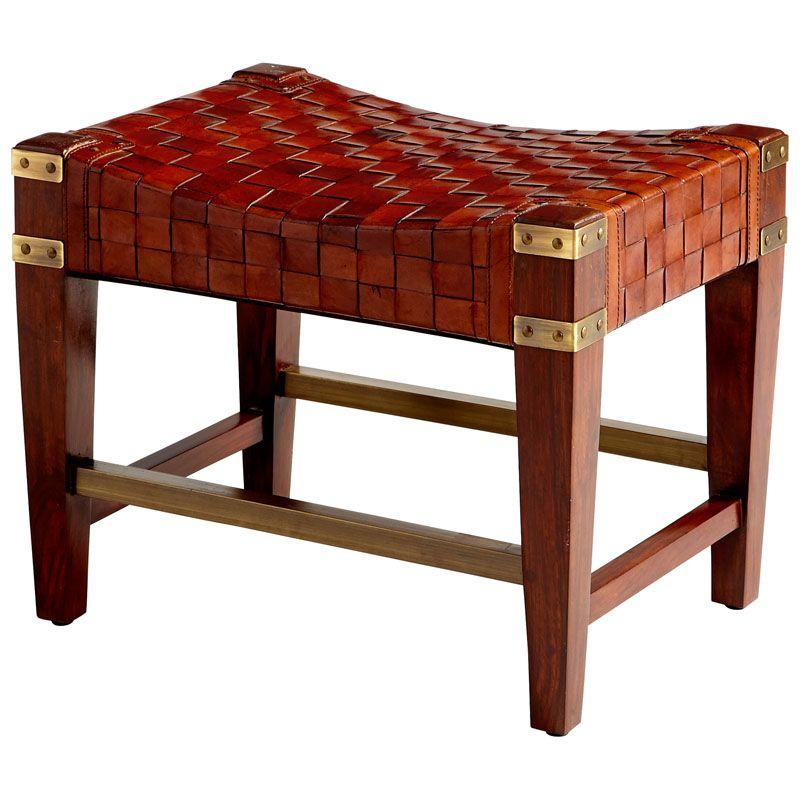 Cyan Design Koshi Stool Koshi 17.25 Inch Tall Wood and Leather Stool