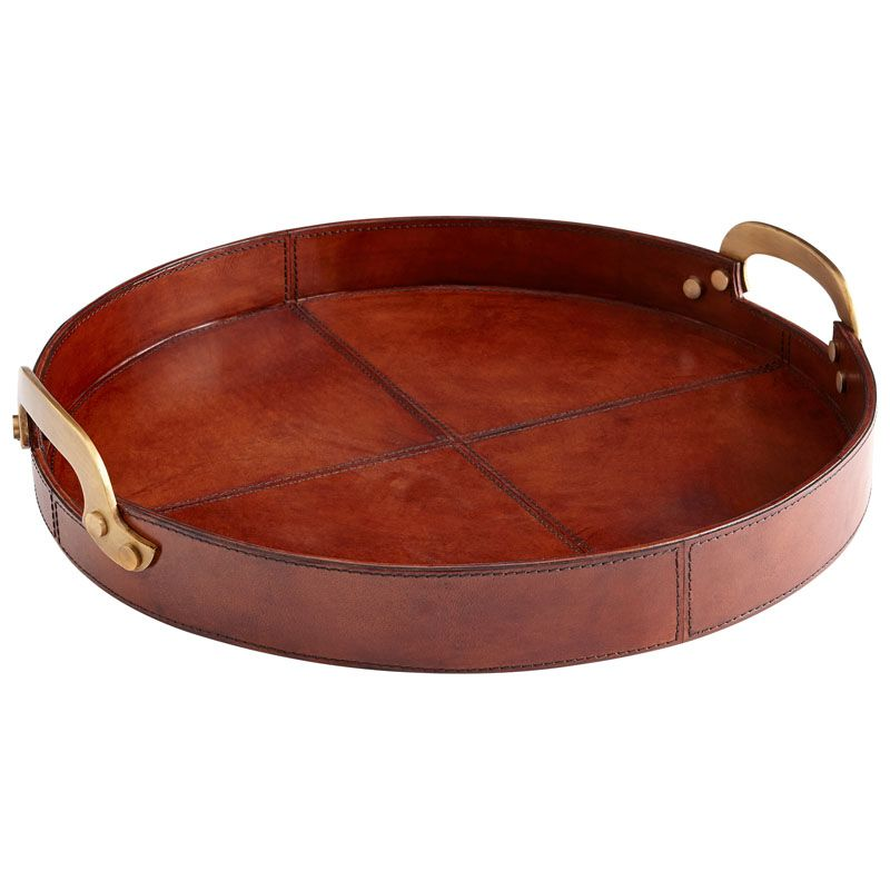Cyan Design Small Bryant Tray Bryant 17 Inch Diameter Wood and Leather