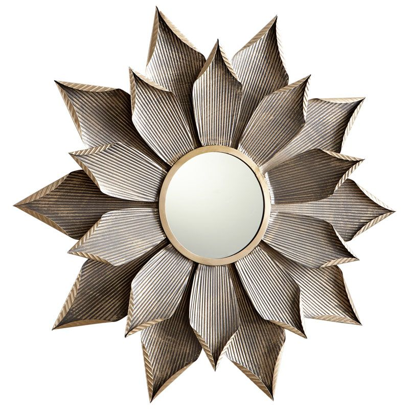 Cyan Design Large Blossom Mirror 7 Inch Diameter Blossom Iron Mirror