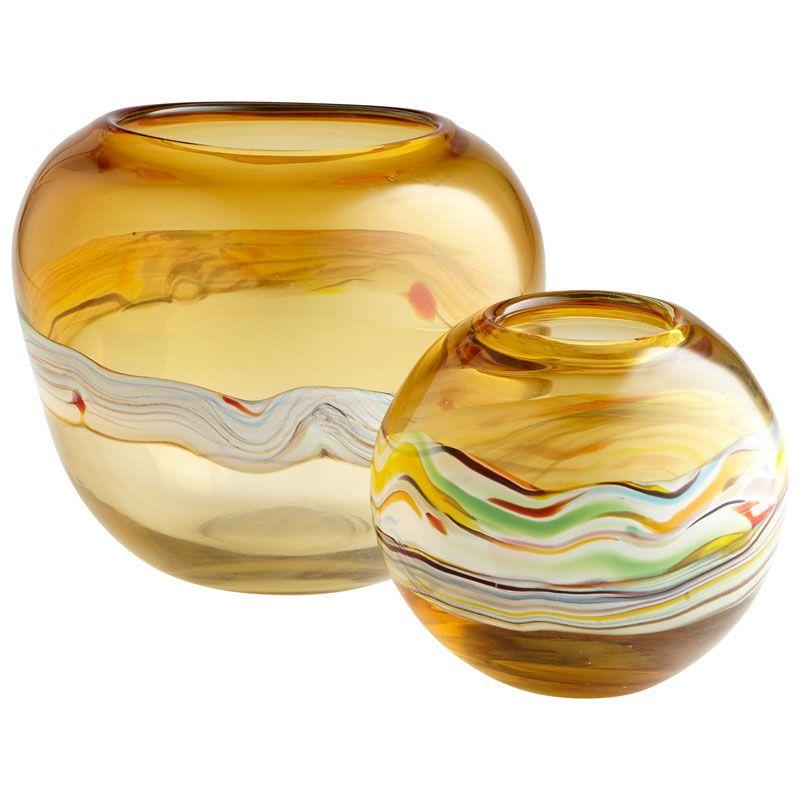 Cyan Design Small Bianca Vase Bianca 7 Inch Tall Glass Vase Amber Home