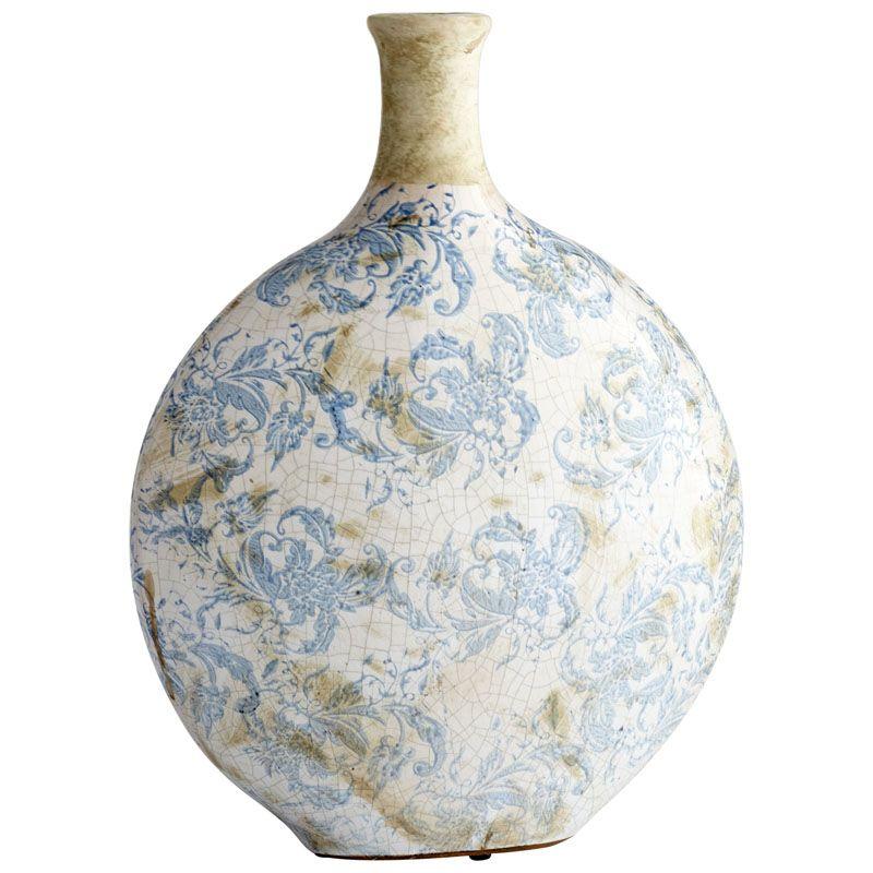 Cyan Design Large Isela Vase Isela 16.5 Inch Tall Terracotta Vase Blue