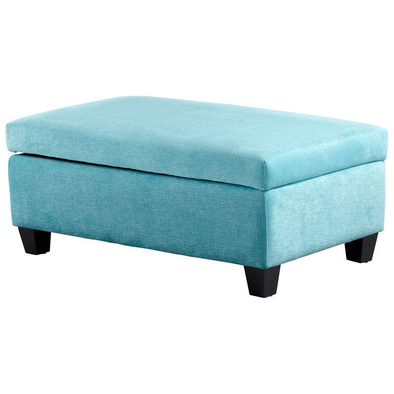 Cyan Design Aldous Ottoman Aldous Rectangle Wood and Foam Ottoman Blue