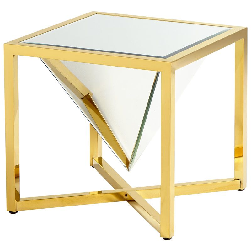 Cyan Design Titan Side Table Titan 21 Inch Long Brass and Clear Glass
