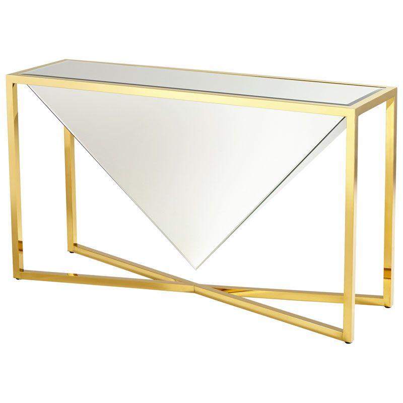 Cyan Design Titan Console Table Titan 55 Inch Long Brass and Clear