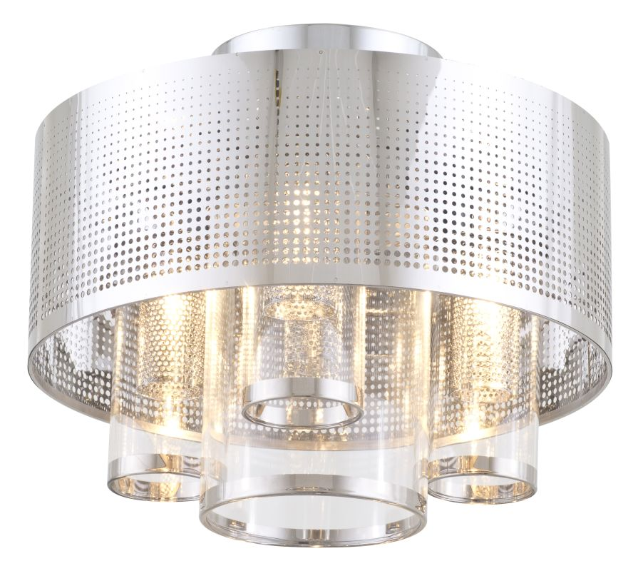 DVI Lighting DVP10411 Dakar 3 Light Semi Flush Ceiling Fixture Chrome