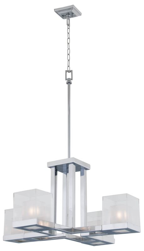 DVI Lighting DVP3903 Narvik 4 Light Full Sized Pendant Chrome / Half