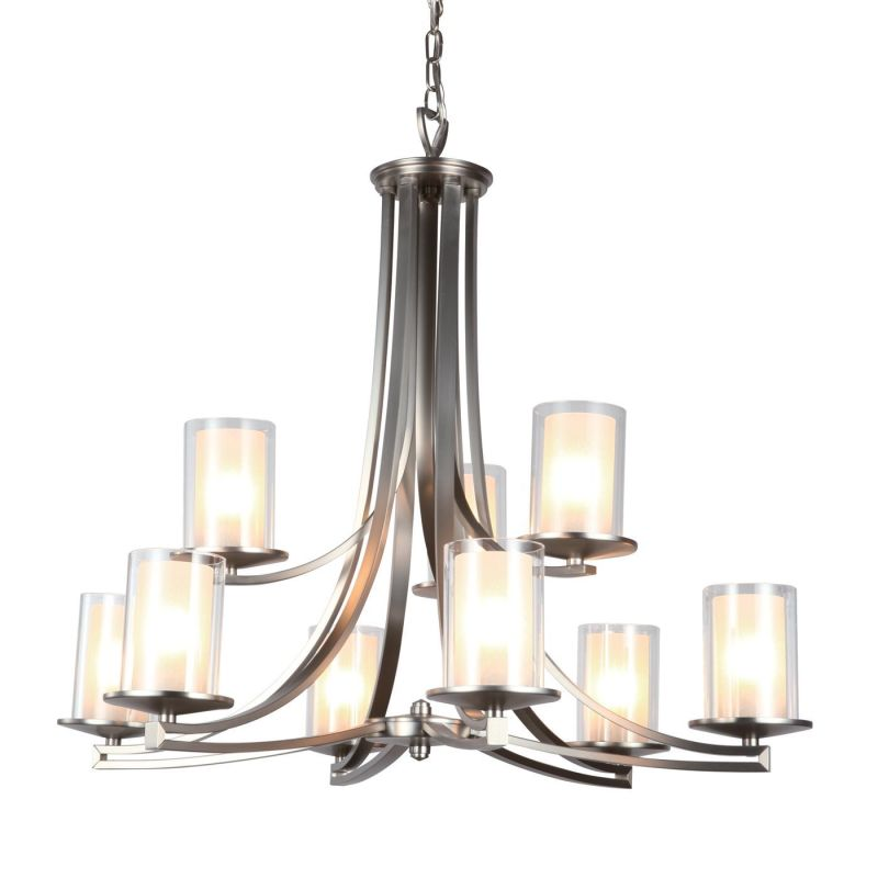 DVI Lighting DVP9029 Essex 9 Light 2 Tier Chandelier Chrome with Half