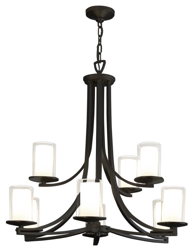 DVI Lighting DVP9029 Essex 9 Light 2 Tier Chandelier Graphite / Half