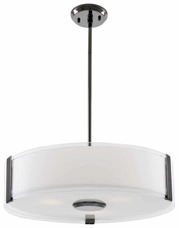 """DVI Lighting DVP14506 Zurich 16"""" Height 3 Light Pendant Black Chrome"""