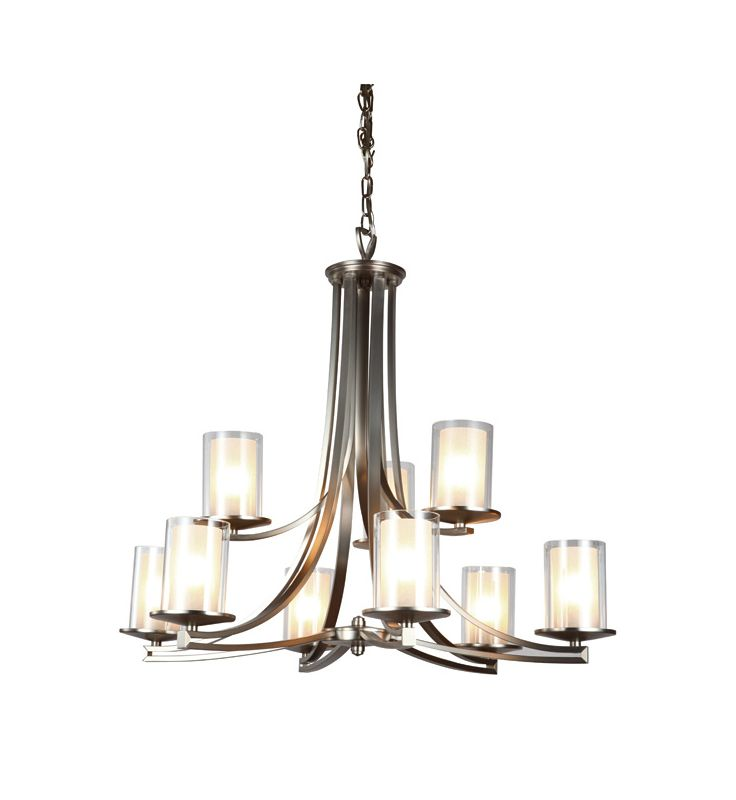 DVI Lighting DVP9029 Essex 9 Light 2 Tier Chandelier Buffed Nickel