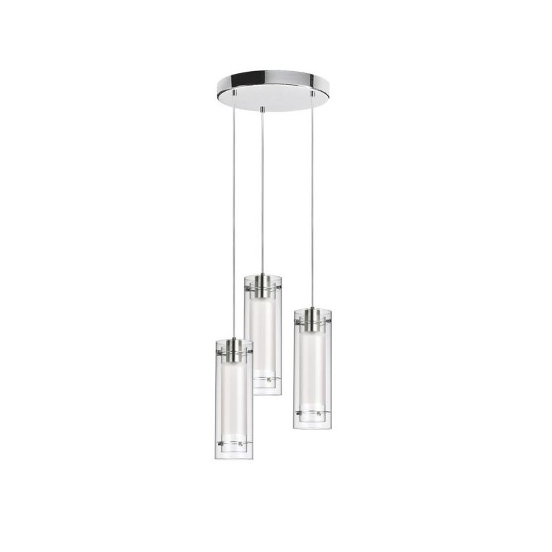 Dainolite 53153R-790-PC Fabric Glass 3 Light Pendant Polished Chrome