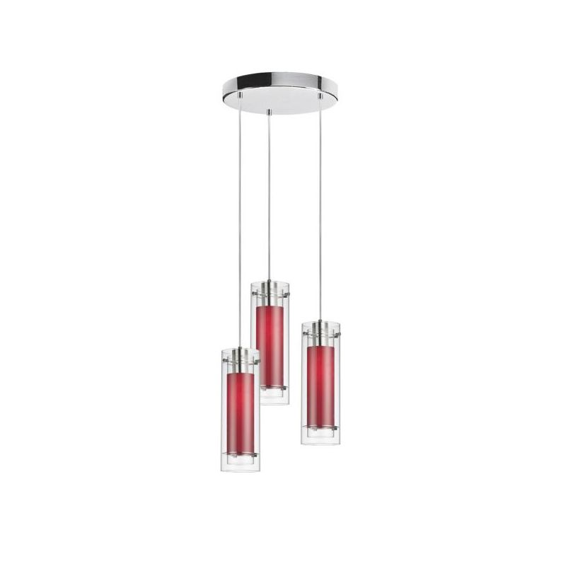 Dainolite 53153R-795-PC Fabric Glass 3 Light Pendant Polished Chrome