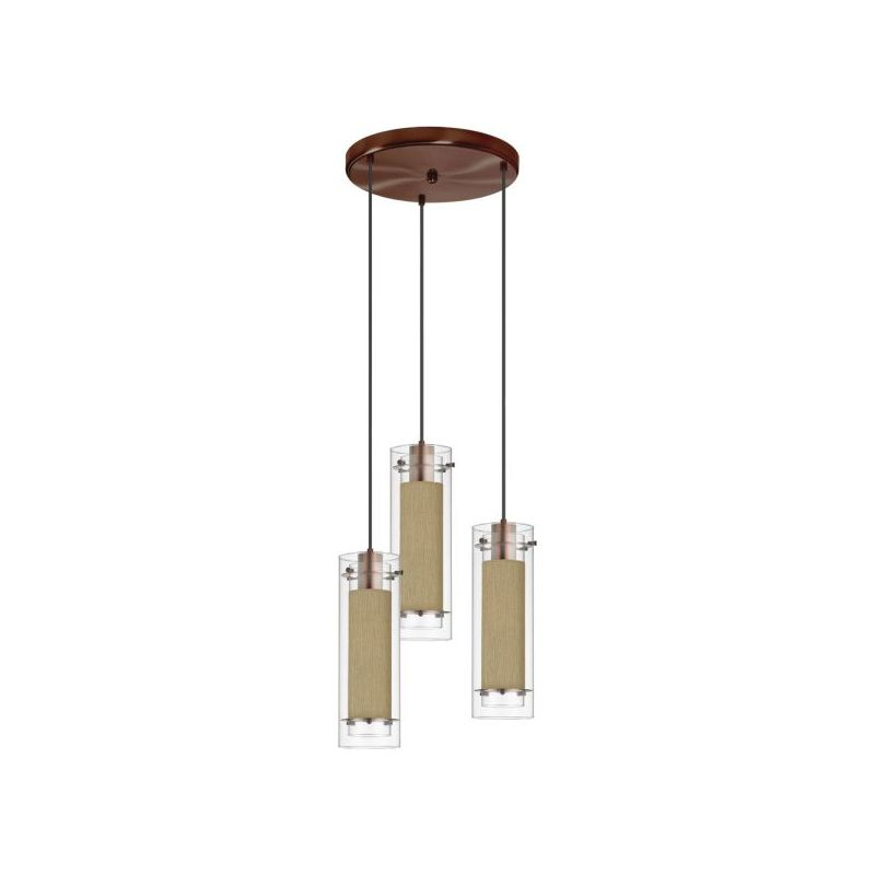 Dainolite 53153R-838-OBB Fabric Glass 3 Light Pendant Oil Brushed