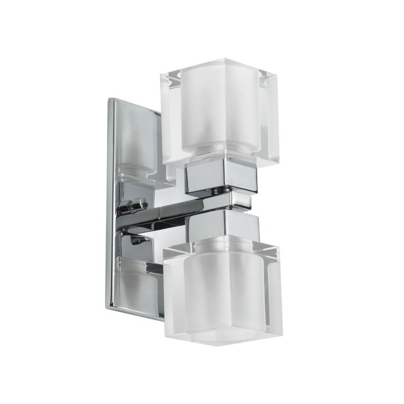Dainolite 83889A-PC Cube Crystal 2 Light ADA Compliant Vanity Light