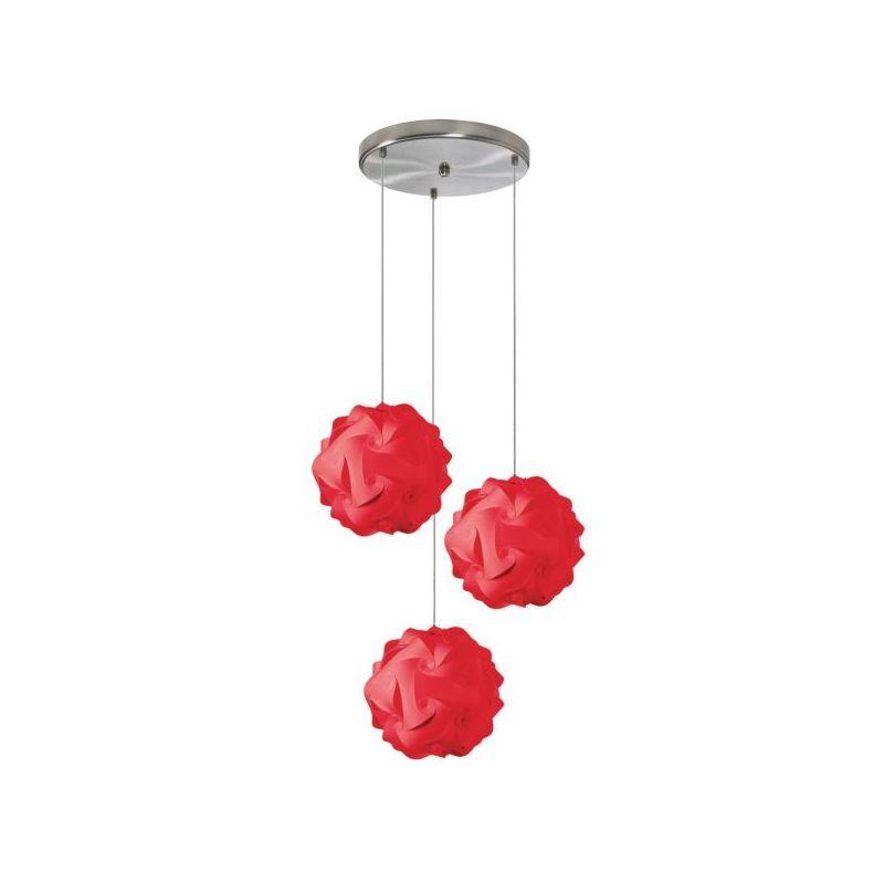 Dainolite DBL-FLT-795 Daino Ball 3 Light Pendant Red Indoor Lighting