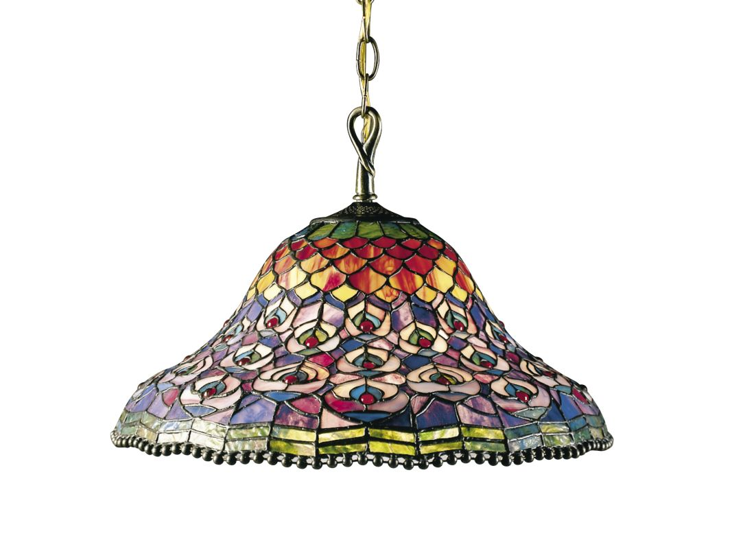 Dale Tiffany 7976/3LTA Peacock Tail Pendant Fixture from the Nature
