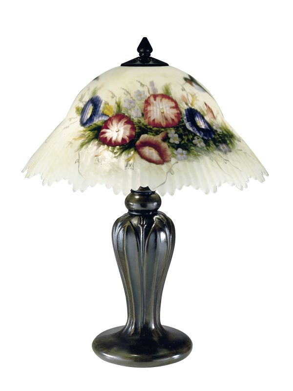 "Dale Tiffany 10190/706 19"" Hummingbird / Flower Table Lamp with"