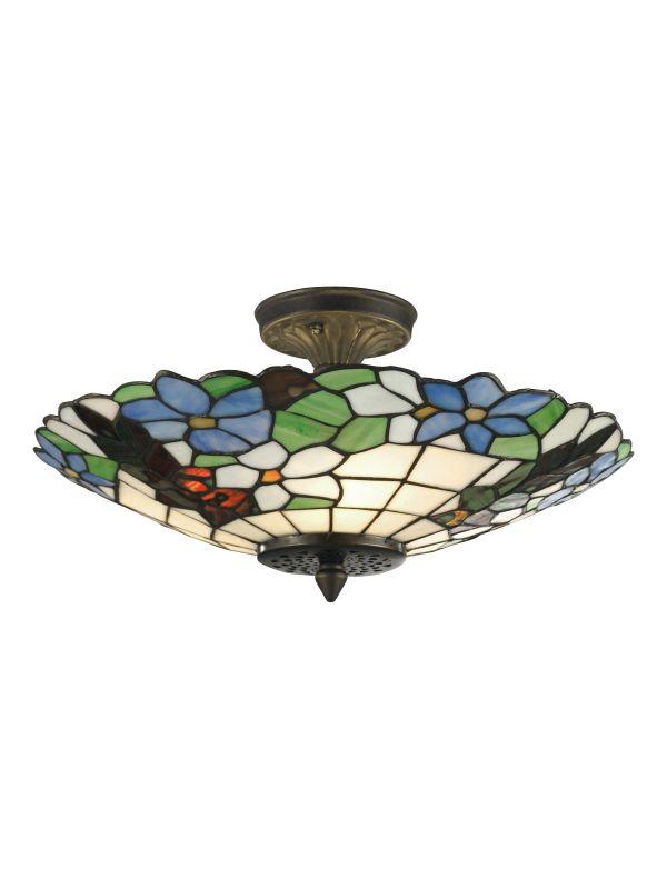 Dale Tiffany 3660/3LTF Wisteria Semi-Flush Mount Light Fixture from