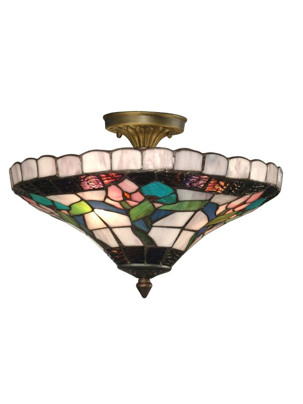 "Dale Tiffany 7096/3LTF 9"" Hollyhock Flush Mount with 3 Lights Antique"