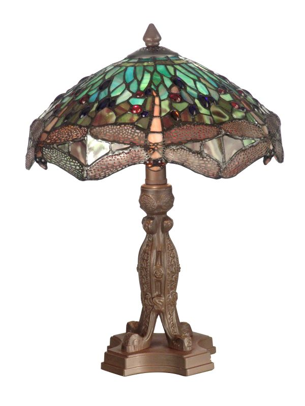 "Dale Tiffany 7703/637 18"" Dragonfly Table Lamp with 1 Light Antique"