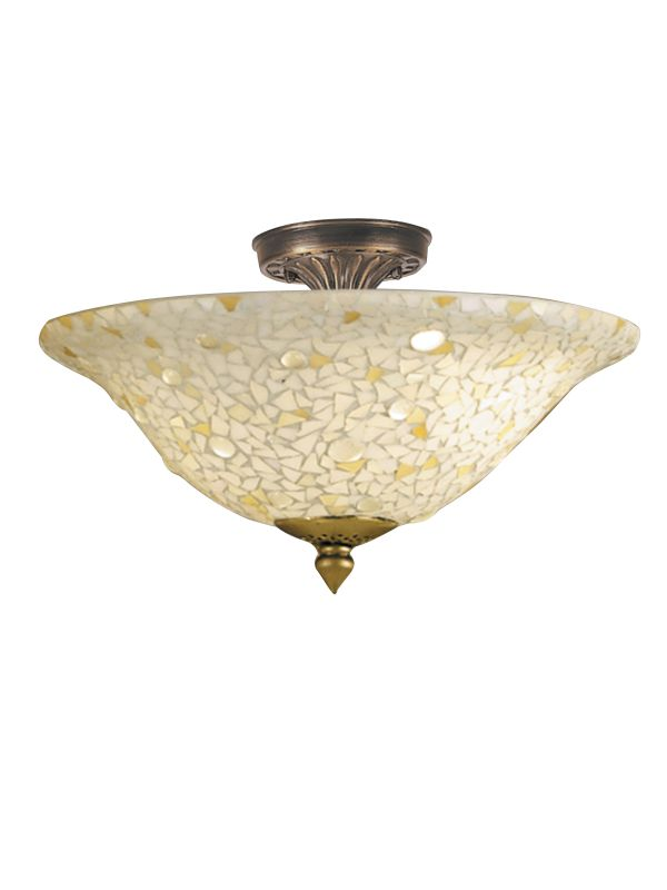 Dale Tiffany 8565/3LTF Mosaic/Clear Flush Mount from the Mosaic