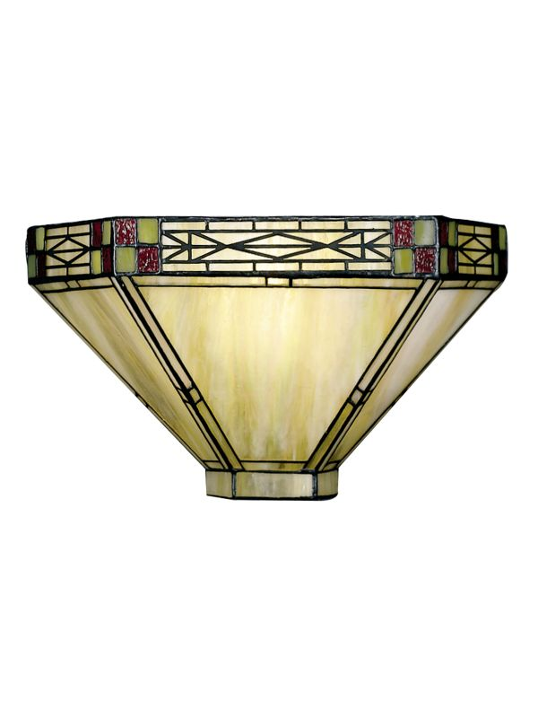 Dale Tiffany 8676/1LTW Mission Wall Sconce with Art Glass Shade Ivory