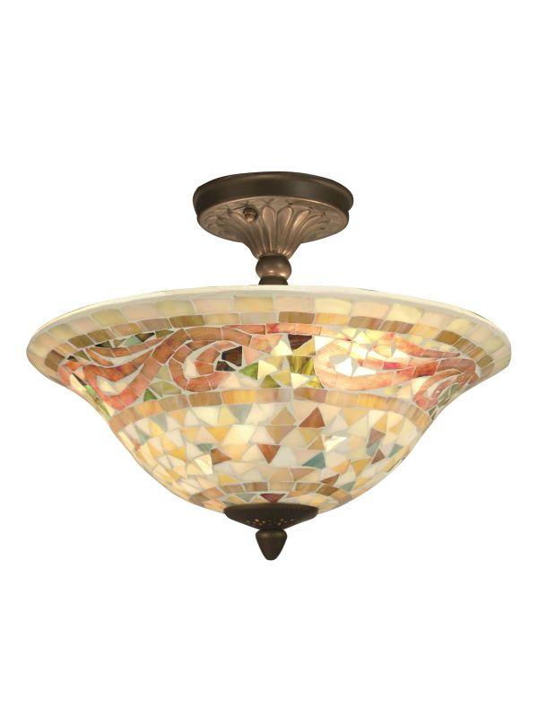 "Dale Tiffany 8780/3LTF 10"" Bradshaw Mosaic Semi-Flush Ceiling Fixture"