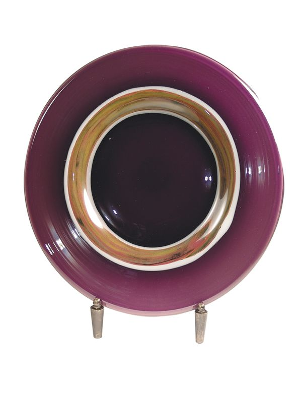 Dale Tiffany AG500284 Retro Melrose Decorative Plate with Stand Mauve