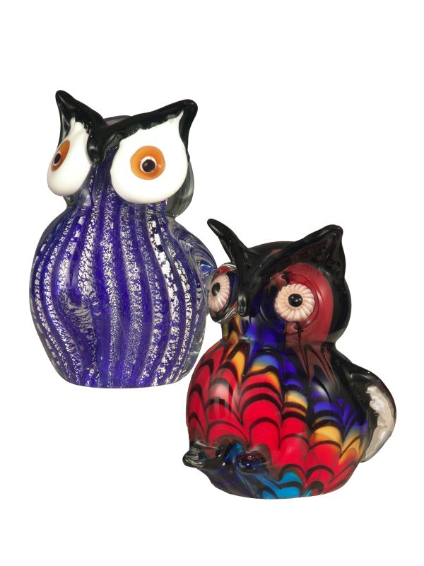 Dale Tiffany AS12050 2-Piece Owl Figurines with Hand Blown Art Glass
