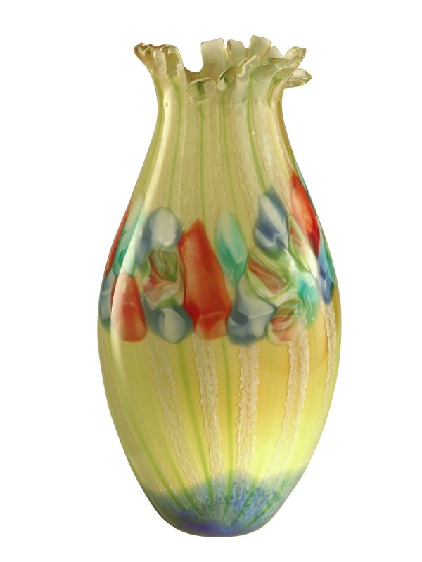 Dale Tiffany AV11098 Annie Art Glass Vase with Hand Blown Art Glass