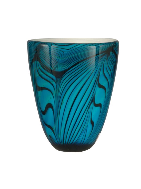 Dale Tiffany AV12042 Blue Wave Vase with Hand Blown Art Glass Glass