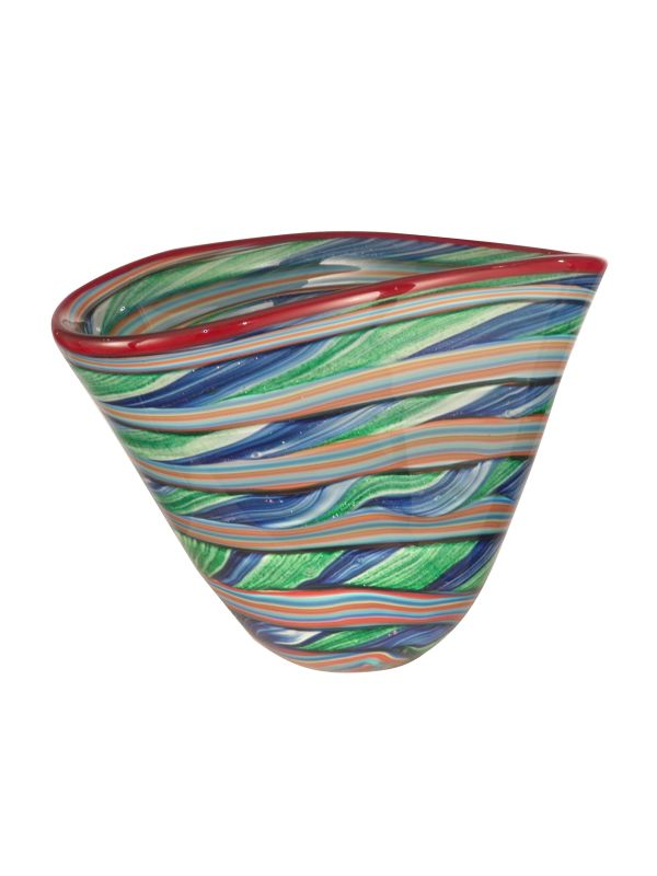Dale Tiffany AV12047 Striped Bowl with Hand Blown Art Glass Glass Home