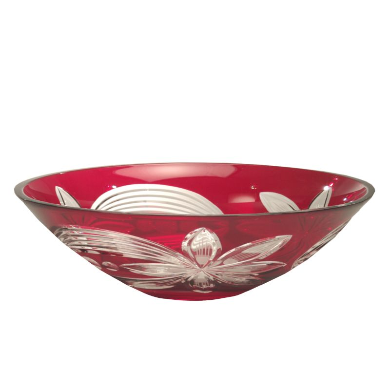 "Dale Tiffany GA60836 4.5"" Red Floral Bowl with 24 Percent Lead Crystal"