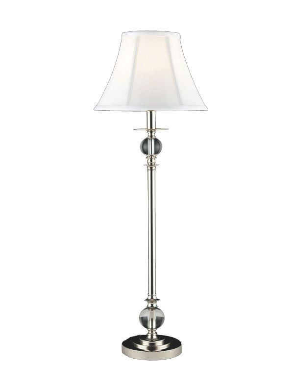 Dale Tiffany GB10196 Tall Crystal Buffet Lamp with Fabric Shade