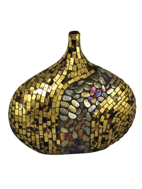 Dale Tiffany PG10041 Antique Gold Art Vase Gold Home Decor Vases