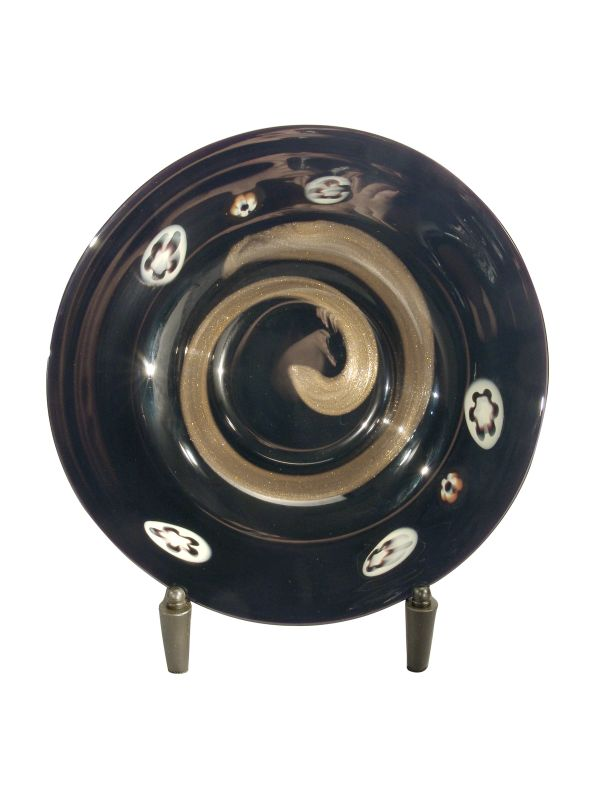 Dale Tiffany PG80154 Retro Santiago Decorative Plate with Stand Black