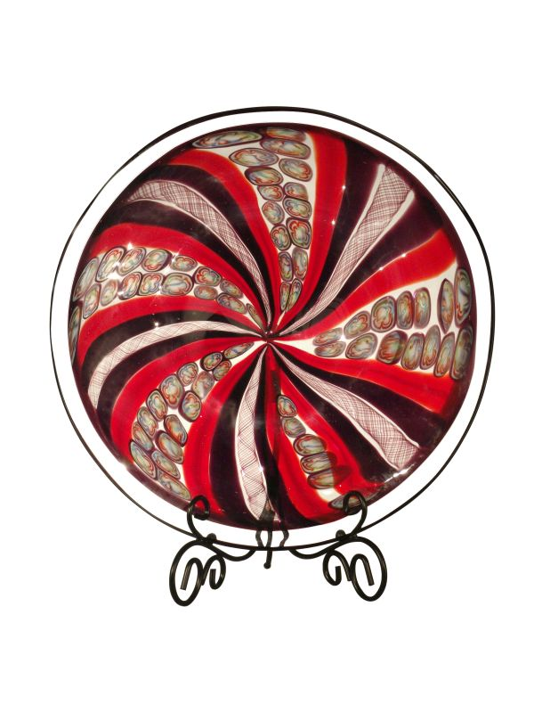 Dale Tiffany PG80203 Santa Cruz Decorative Plate with Stand Red Home