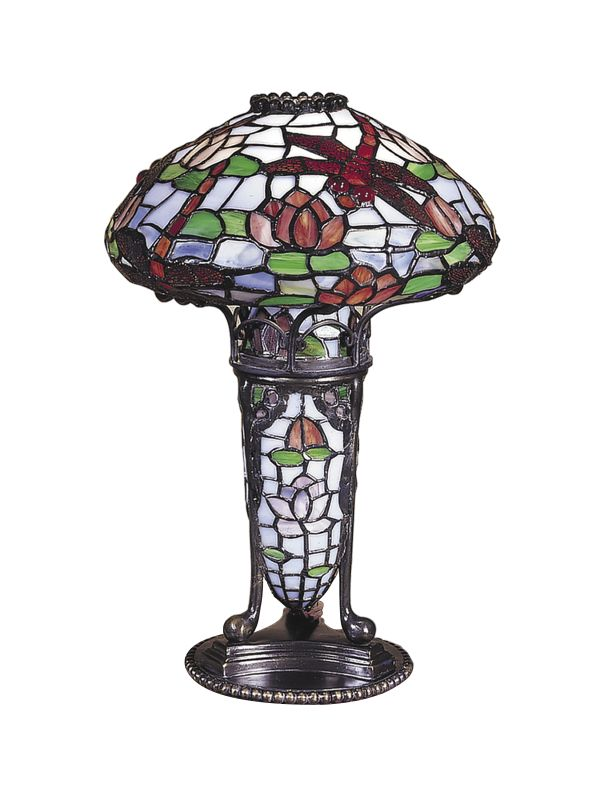 Dale Tiffany TA100644 1 Light Dragonfly Accent Lamp with Art Glass