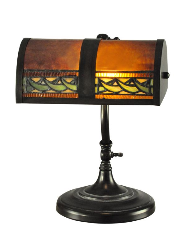 "Dale Tiffany TA100682 10"" x 14"" Egyptian Desk Lamp from the Mica"