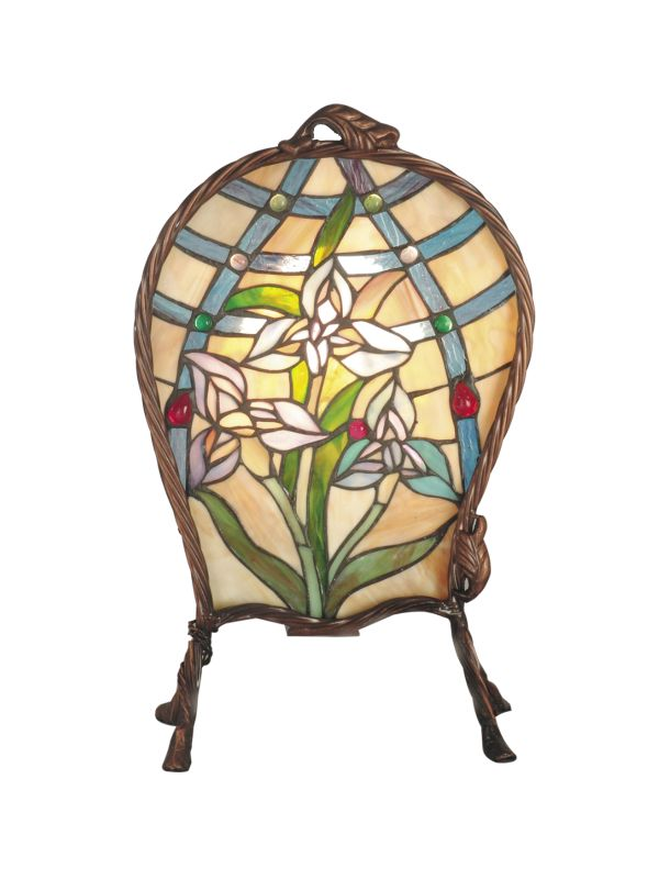 Dale Tiffany TA60469 Single Light Floral Accent Lamp with Art Glass