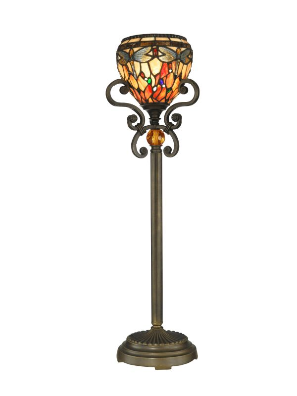 Dale Tiffany TB10098 1 Light Dragonfly Buffet Lamp with Art Glass