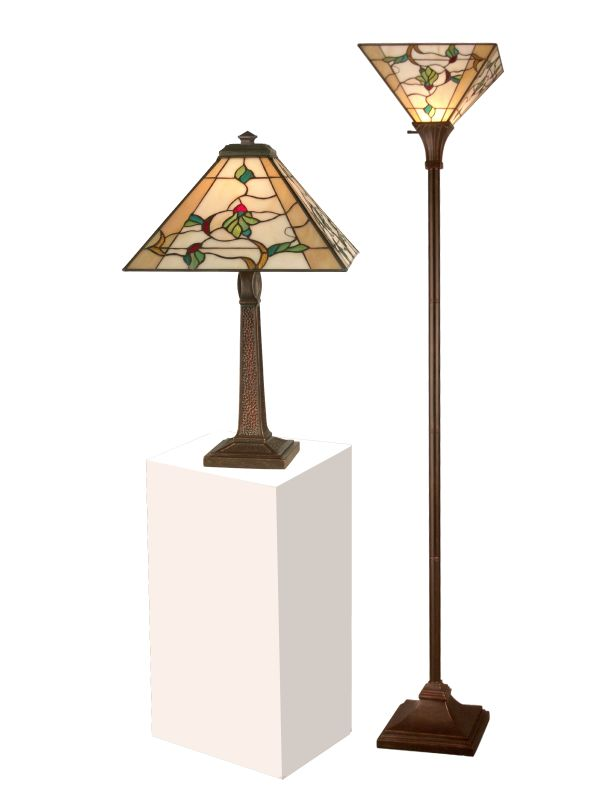 Dale Tiffany TC11174 Green Leafs Table and Torchiere Lamp Set with 1