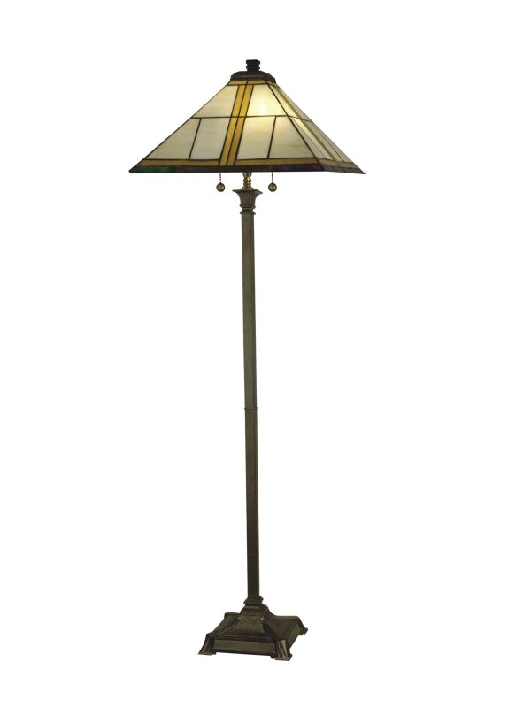 Dale Tiffany TF10497 2 Light Tiffany Mission Floor Lamp with Art Glass