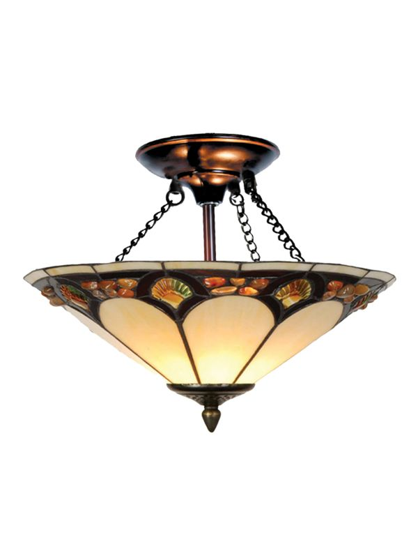 Dale Tiffany TH10493 2 Light Tiffany Pebblestone Semi-Flush Fixture