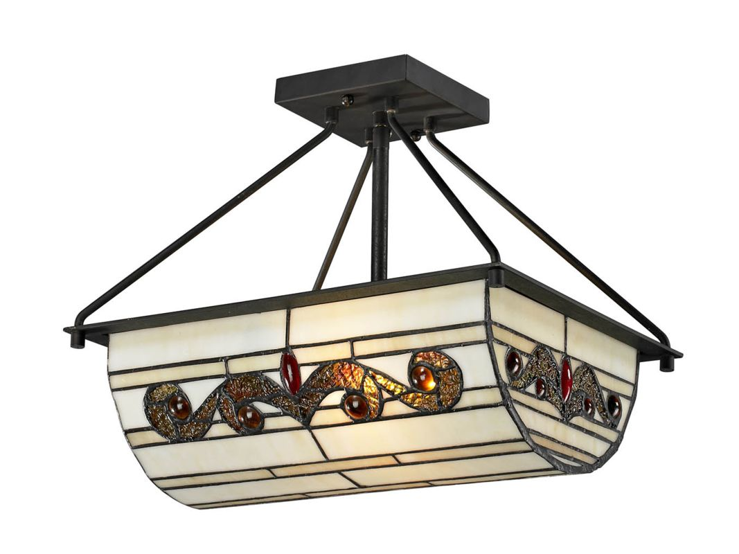 Dale Tiffany TH12461 Cupertino 2 Light Flush Mount Ceiling Fixture