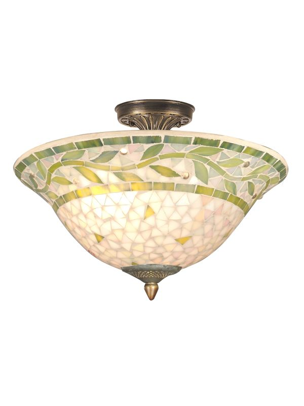 Dale Tiffany TH70655 3 Light Mosaic Semi-Flush Fixture with Mosaic