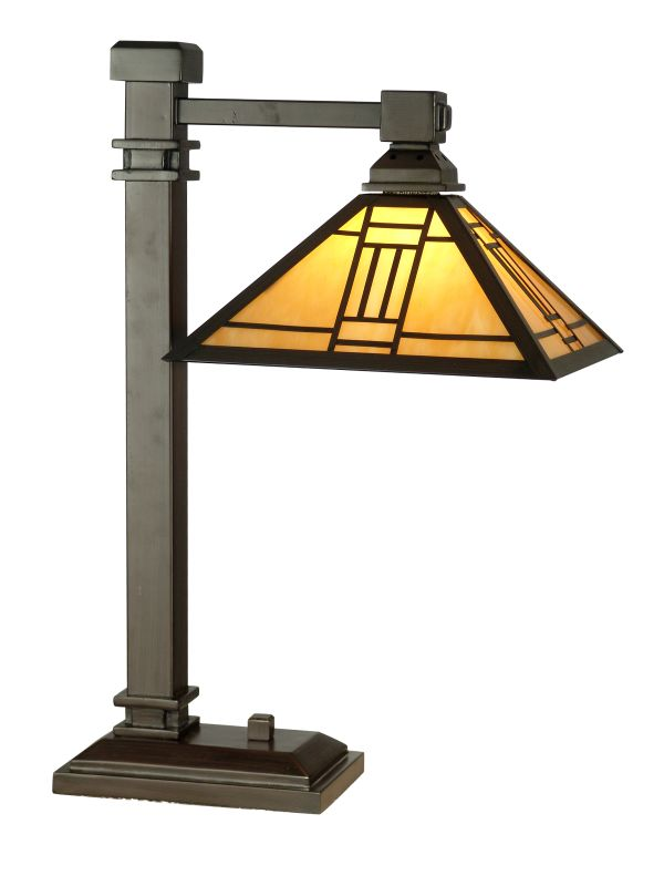 "Dale Tiffany TT100016 22"" Noir Mission Desk Lamp with 1 Light Mica"
